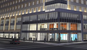 Baker Center exterior night rendering