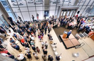 t06.22.2016 -- Steve Kuchera -- kucheraMAURICES0623 -- Maurices CEO George Goldfarb speaks to people gathered for a ribbon-cutting ceremony for the new Maurices building in Duluth. Steve Kuchera / skuchera@duluthnews.com
