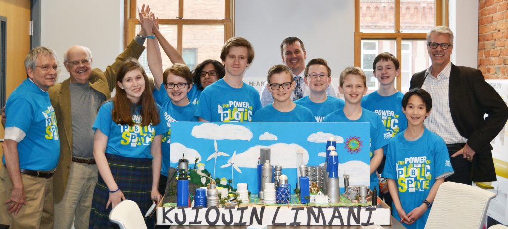 Students from the St. Francis of Assisi Future City team together with teacher Dennis Schreiber and RSP's George Brophy, Tim Miller and Jon Buggy.
