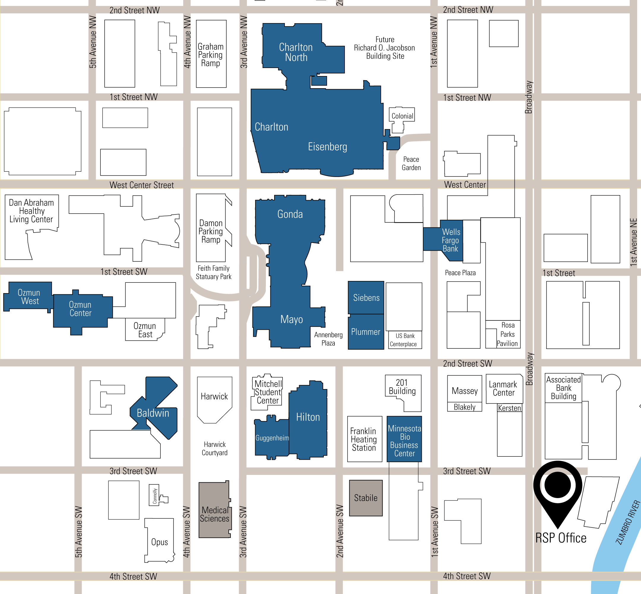 Mayo Clinic Map RSP and Mayo Clinic Relationship   Downtown Campus Map | RSP