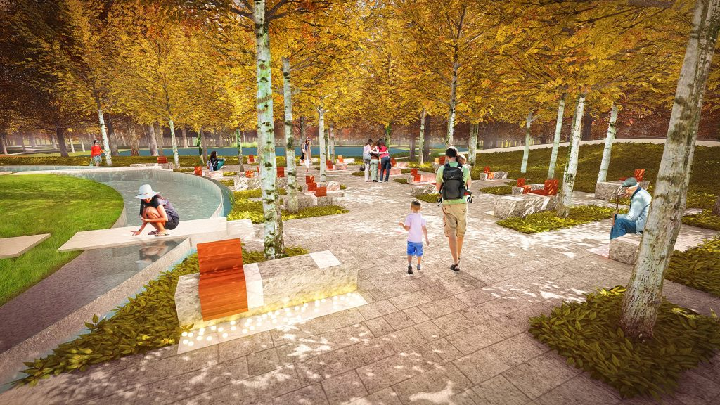 Rendering of a memorial grove